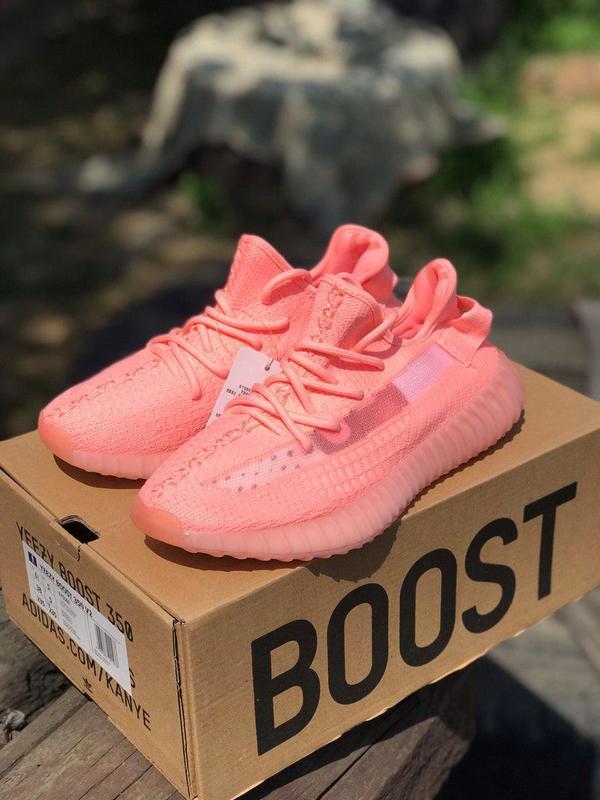 """Яркие кроссовки adidas yeezy 350 """"coral"""" в коралловом цвете (в..."""