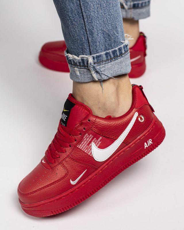 Шикарные кроссовки nike air force в красном цвете (весна-лето-...