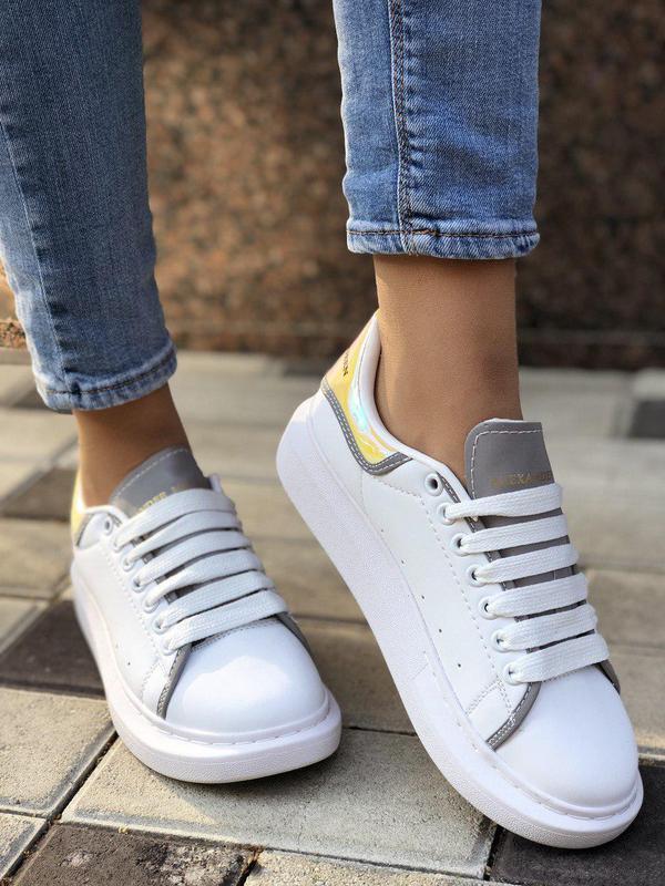 Шикарные женские кроссовки mcqueen в белом цвете с рефлективом...