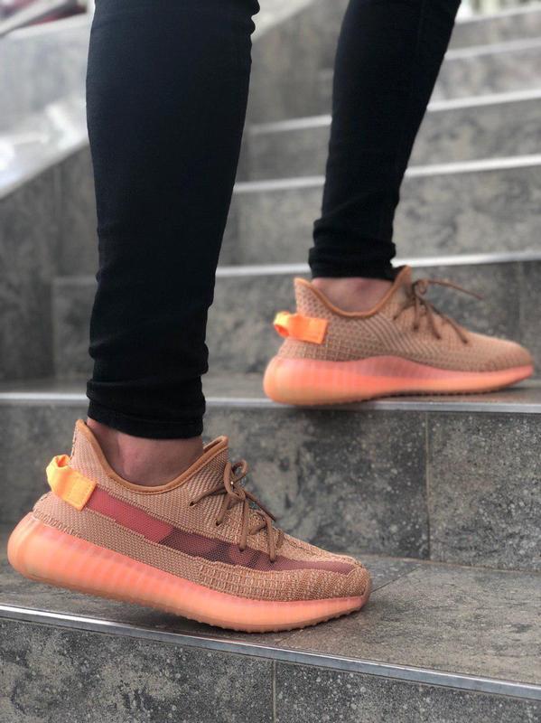 Шикарные кроссовки adidas yeezy в коралловом цвете (весна-лето...