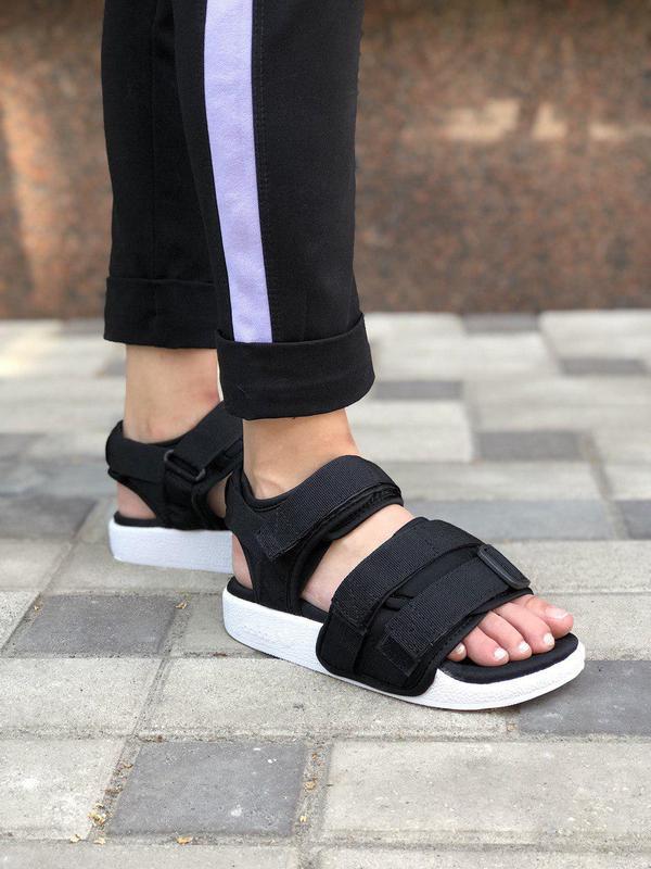 Шикарные и удобные сандалии adidas в черном цвете (весна-лето-...