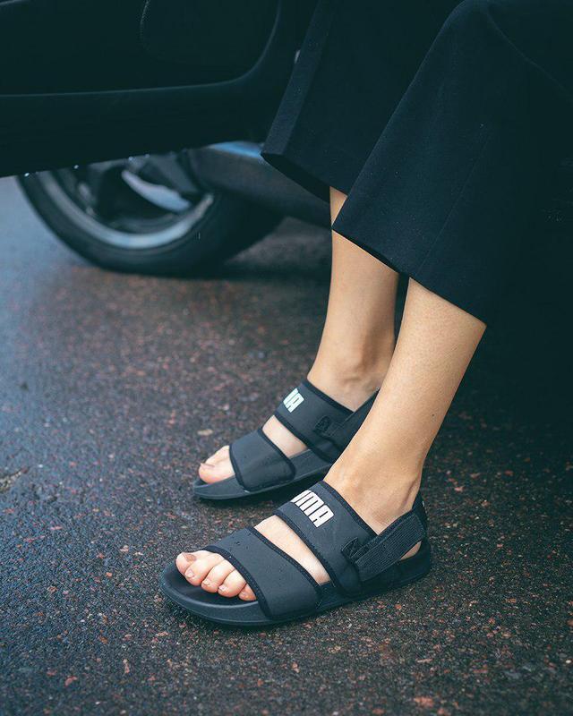 Стильные женские сандалии puma в полностью черном цвете (весна...