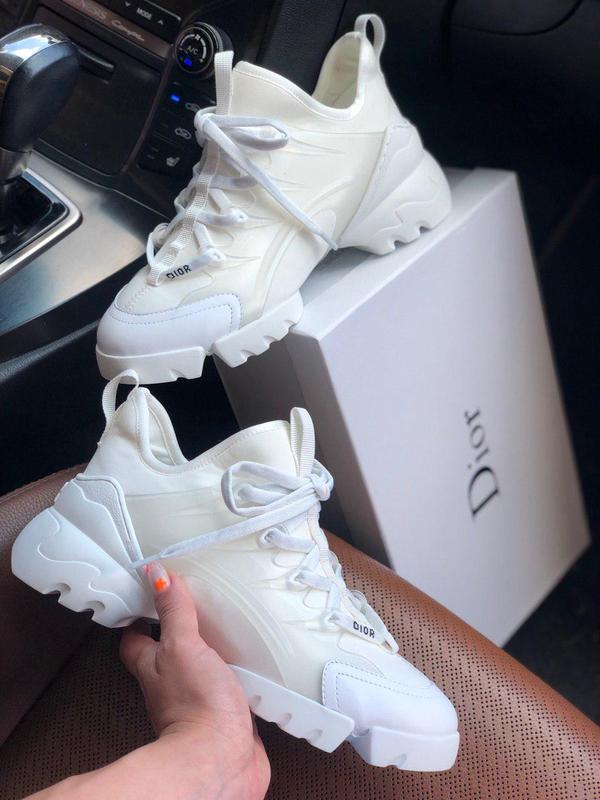 Красивые женские кроссовки из кожи в белом цвете (весна-лето-о...