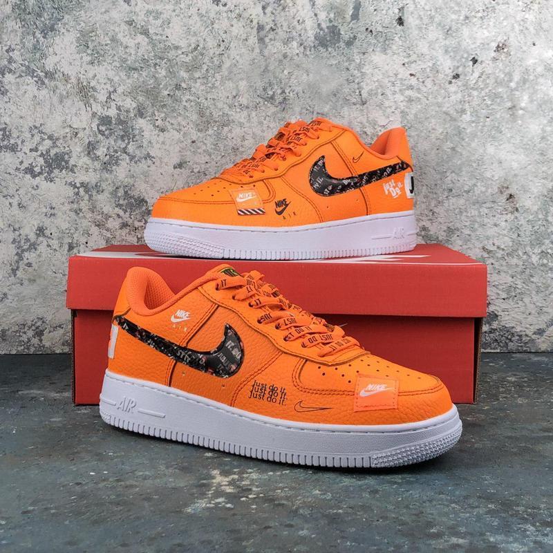 Стильные кожаные кроссовки nike air force orange (весна-лето-о...