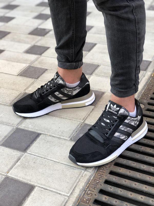 Шикарные мужские кроссовки adidas в черном цвете (весна-лето-о...