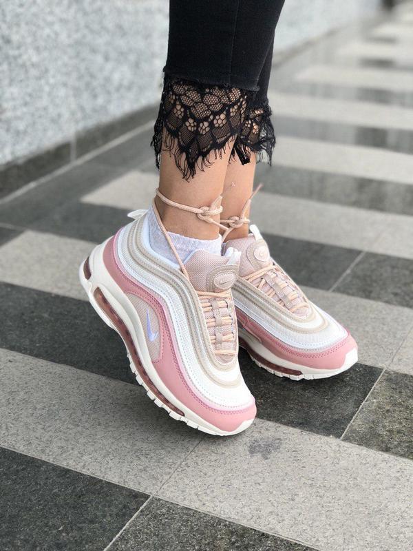 Красивые кроссовки nike 97 в розовом цвете с рефлективом (весн...