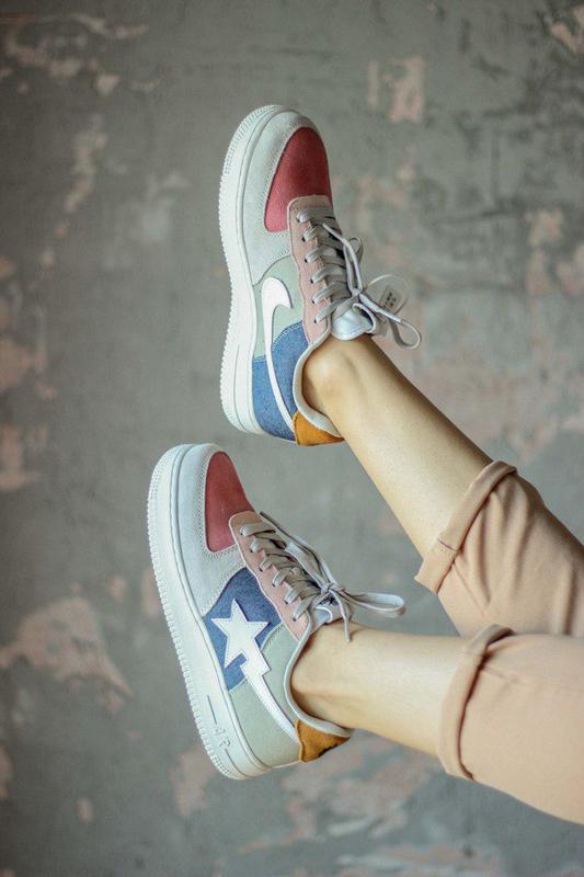 Прекрасные женские кроссовки nike air force bape  (весна-лето-...