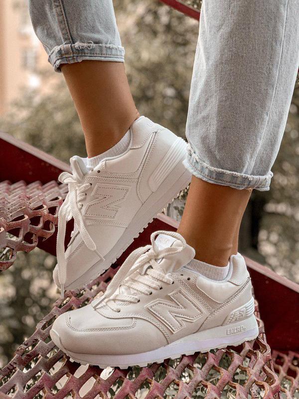 Стильные кроссовки в белом цвете new balance 574 (весна-лето-о...