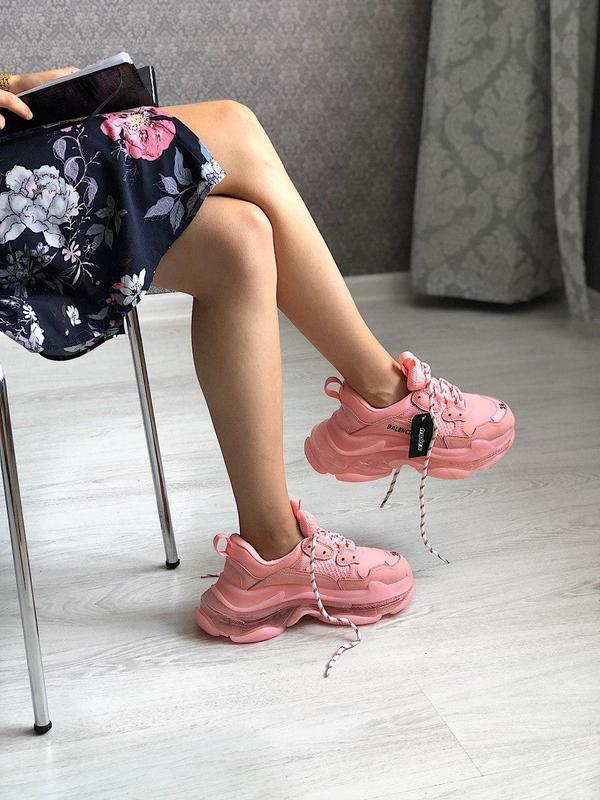 Стильные полностью розовые женские кроссовки (весна-лето-осень)😍