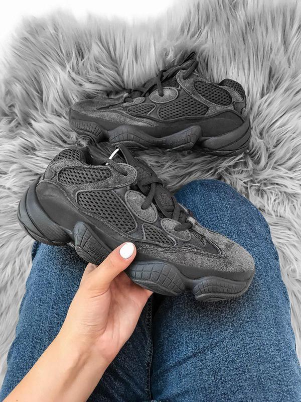 Стильные кроссовки adidas yeezy в черном цвете из замши (весна...