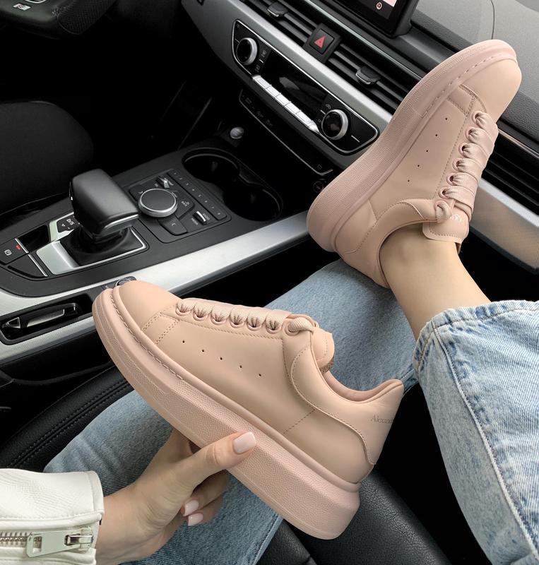 Шикарные кроссовки alexander mcqueen нежно розовом цвете (весн...