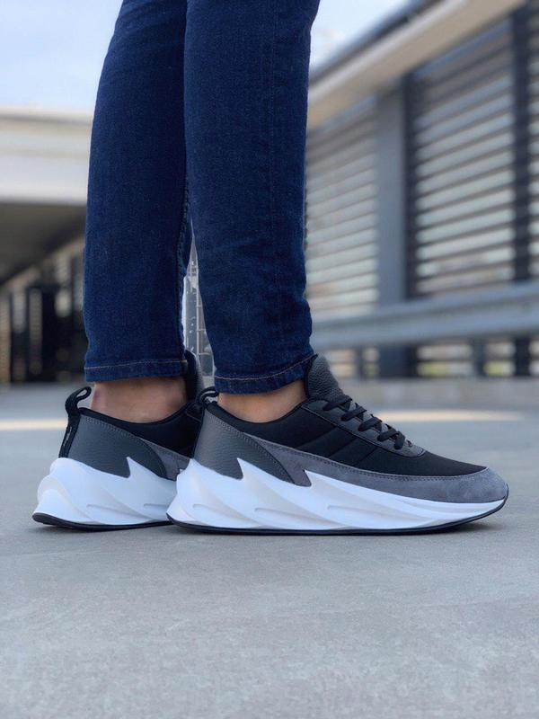 Удобные мужские кроссовки adidas sharks в черном цвете (весна-...