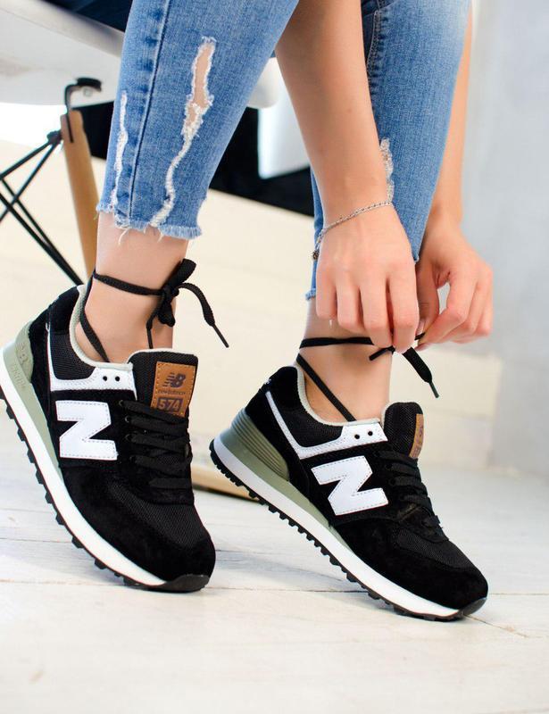 Удобные женские кроссовки new balance 574 в черном цвете (весн...