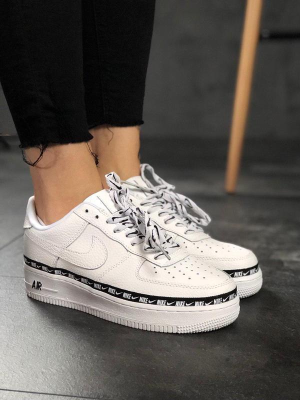 Полностью белые кроссовки nike air force из кожи (весна-лето-о...