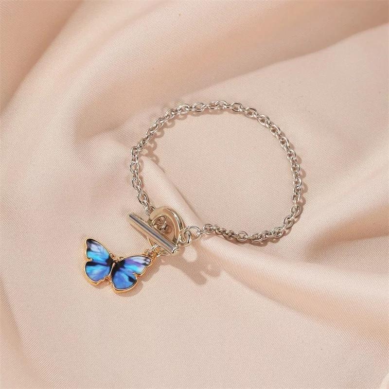 Браслет бабочка кольцо браслетик с синей бабочкой