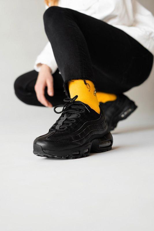 Шикарные практичные кроссовки nike 95 в черном цвете (весна-ле...