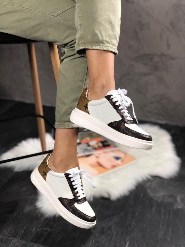 Кожаные женские кроссовки в белом цвете (весна-лето-осень)😍