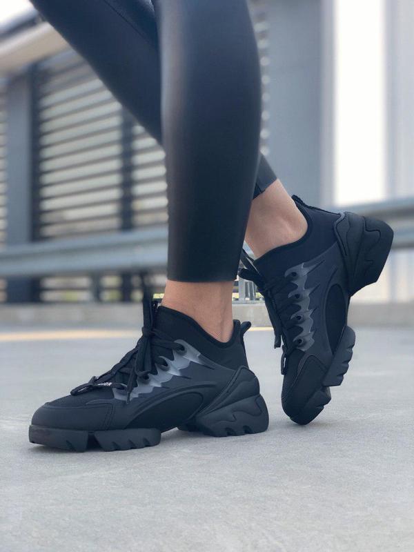 Кожаные женские кроссовки в черном цвете (весна-лето-осень)😍