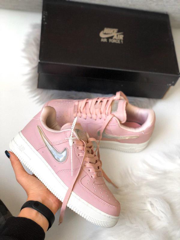 Стильные женские кроссовки nike air force в розовом цвете (вес...