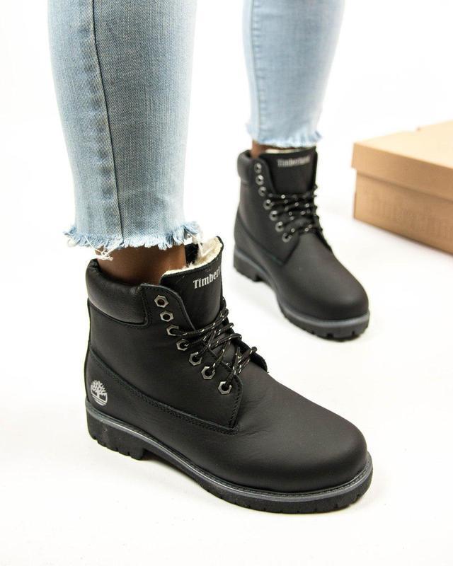 Кожаные меховые ботинки тимберленд в черном цвете (осень-зима-...