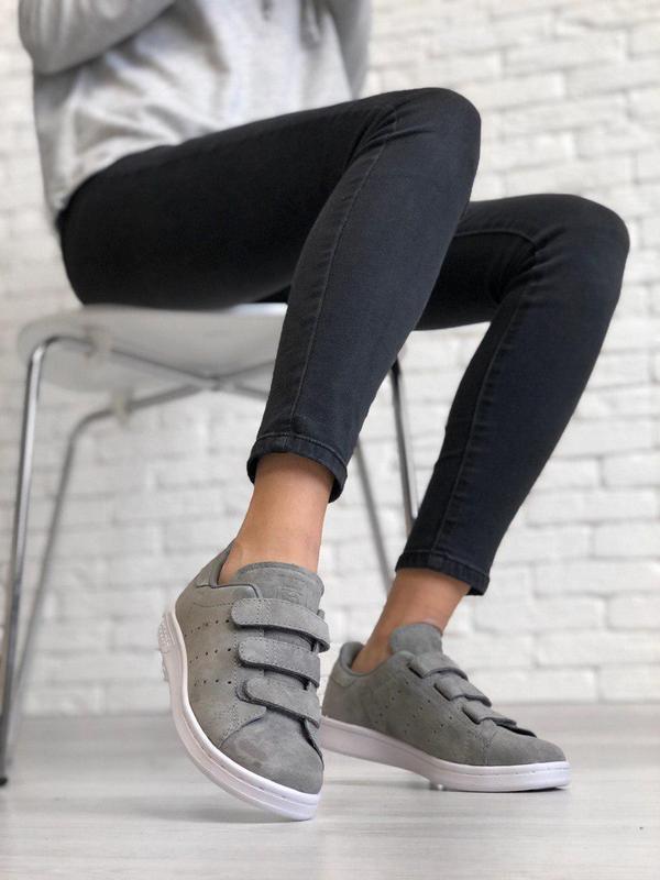 Шикарные замшевые кроссовки adidas с липучками (весна-лето-осе...