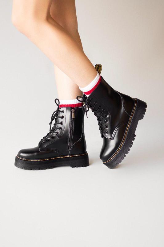 Кожаные женские ботинки dr. martens jadon black (осень-зима-ве...