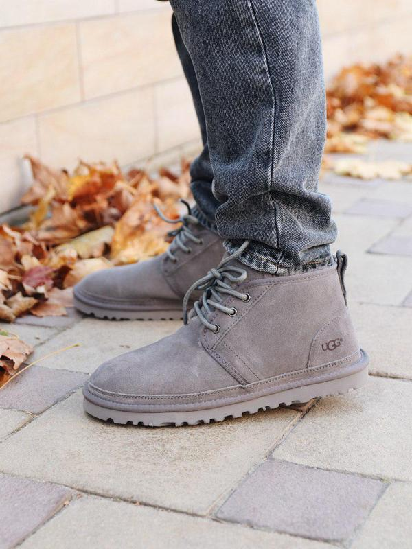 Теплые зимние ботинки ugg neumel в сером цвете (осень-зима-вес...