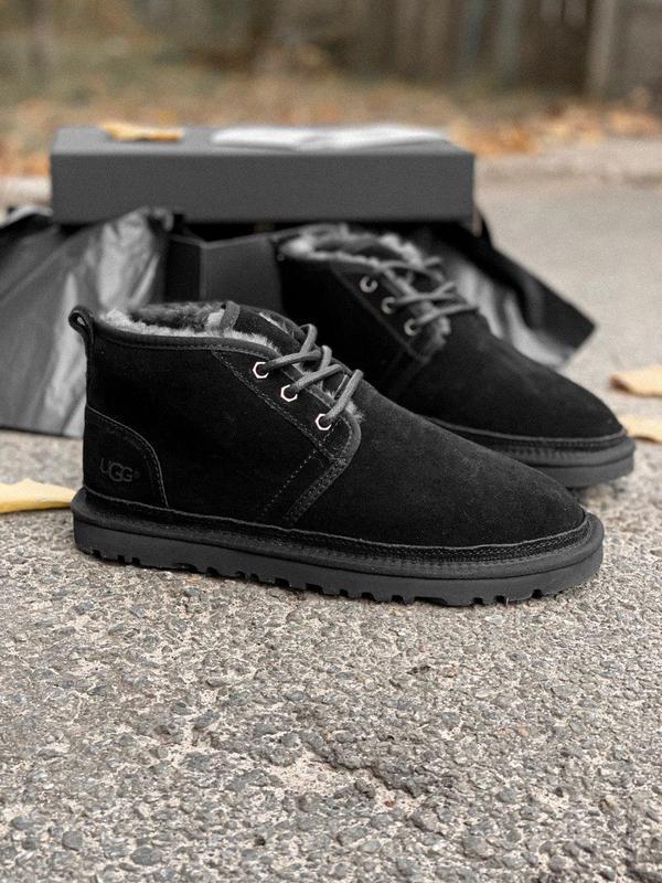 Шикарные мужские ботинки ugg в черном цвете с натур мехом (осе...