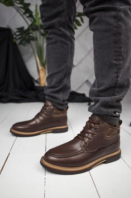 Стильные мужские ботинки в коричневом цвете из кожи (осень-зим...