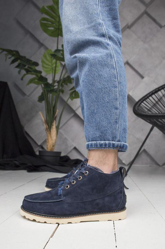 Стильные и теплые зимние ботинки ugg в темно-синем цвете (осен...