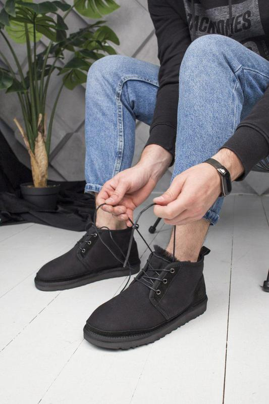 Крутые замшевые зимние ботинки ugg с теплым мехом (осень-зима-...
