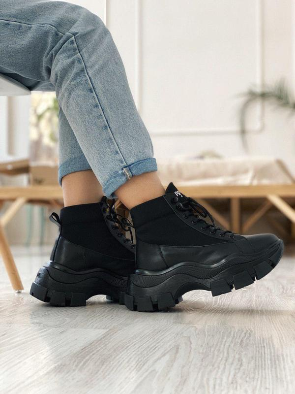 Шикарные кроссовки из кожи в черном цвете (осень-зима-весна)😍