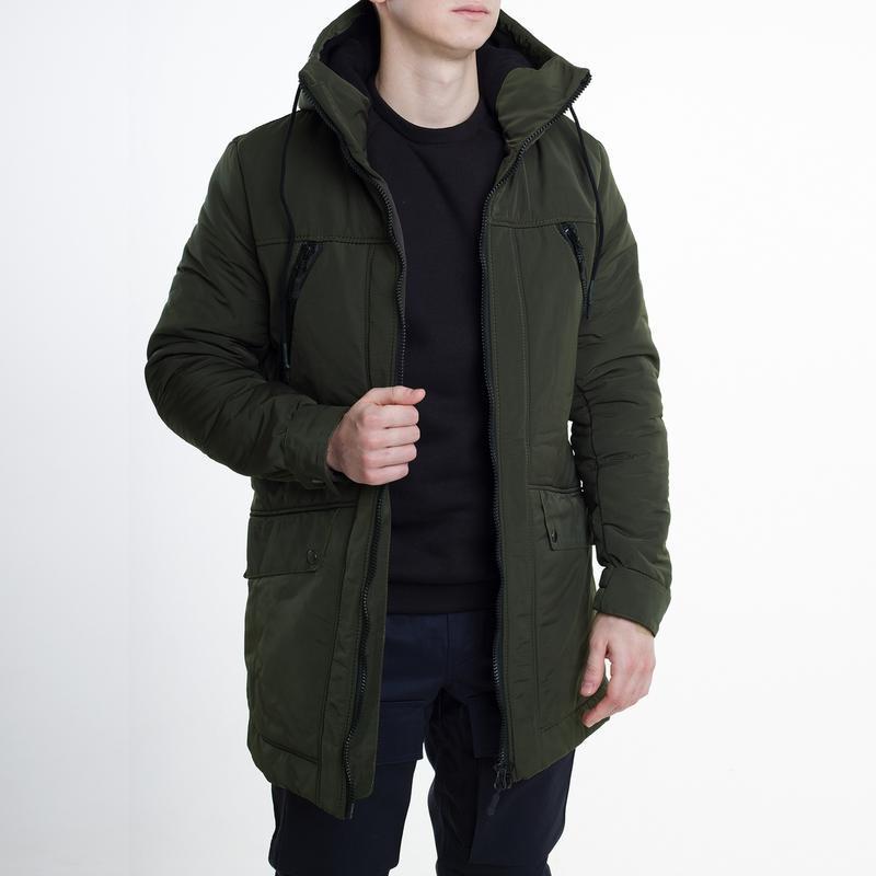 Зимняя мужская курточка в цвете хаки /курточка/парка/пуховик