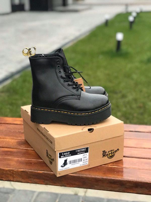 Шикарные зимние ботинки с мехом dr martens jadon black /осень/...