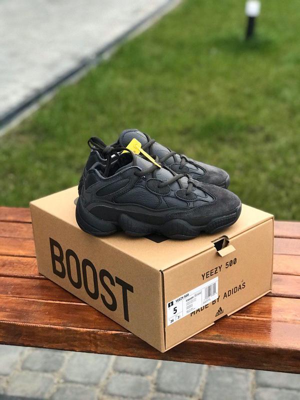 Стильные меховые кроссовки adidas yeezy 500 в черном цвете /ос...