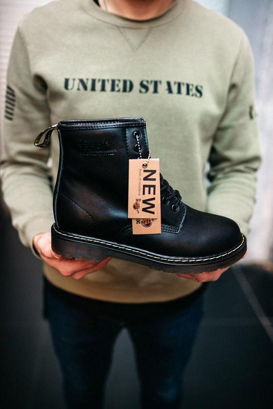 Зимние мужские ботинки dr.martens в черном цвете с мехом  (осе...