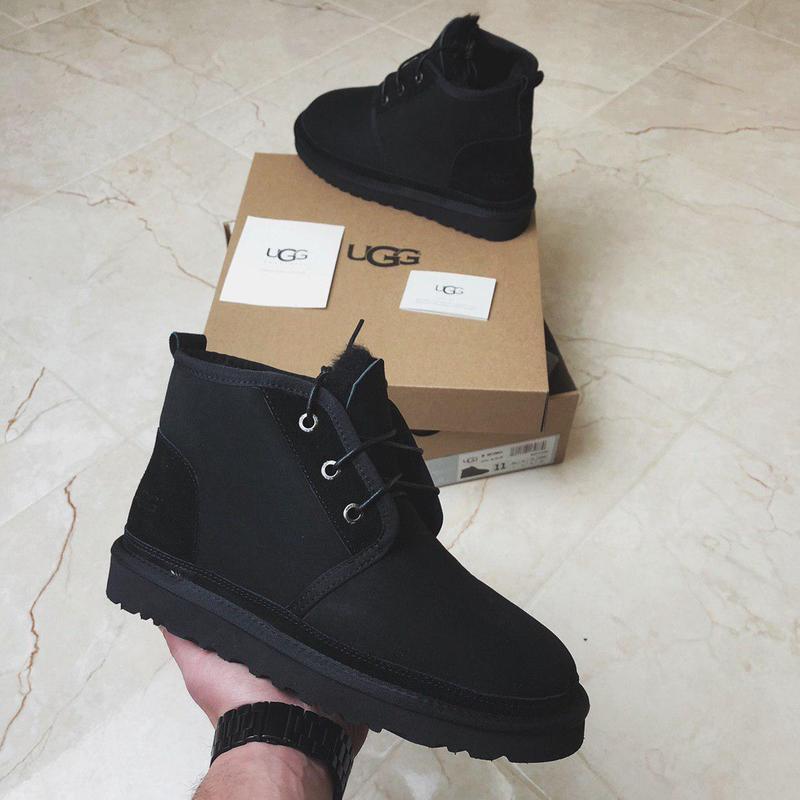 Крутые мужские ботинки ugg neumel black с натуральным мехом /о...