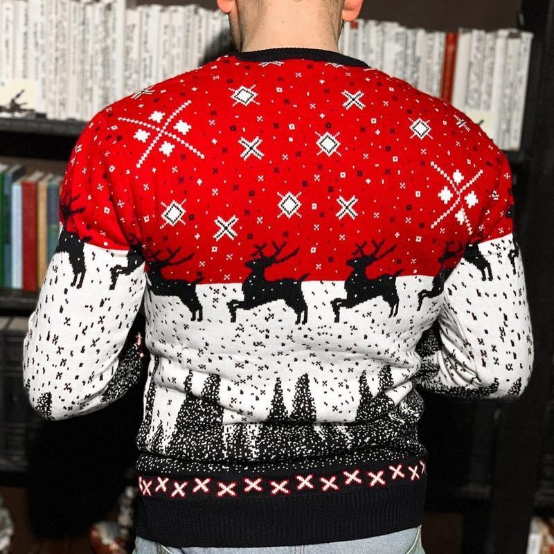 Теплый шерстяной мужской свитер с оленями в красном цвете /осе... - Фото 2