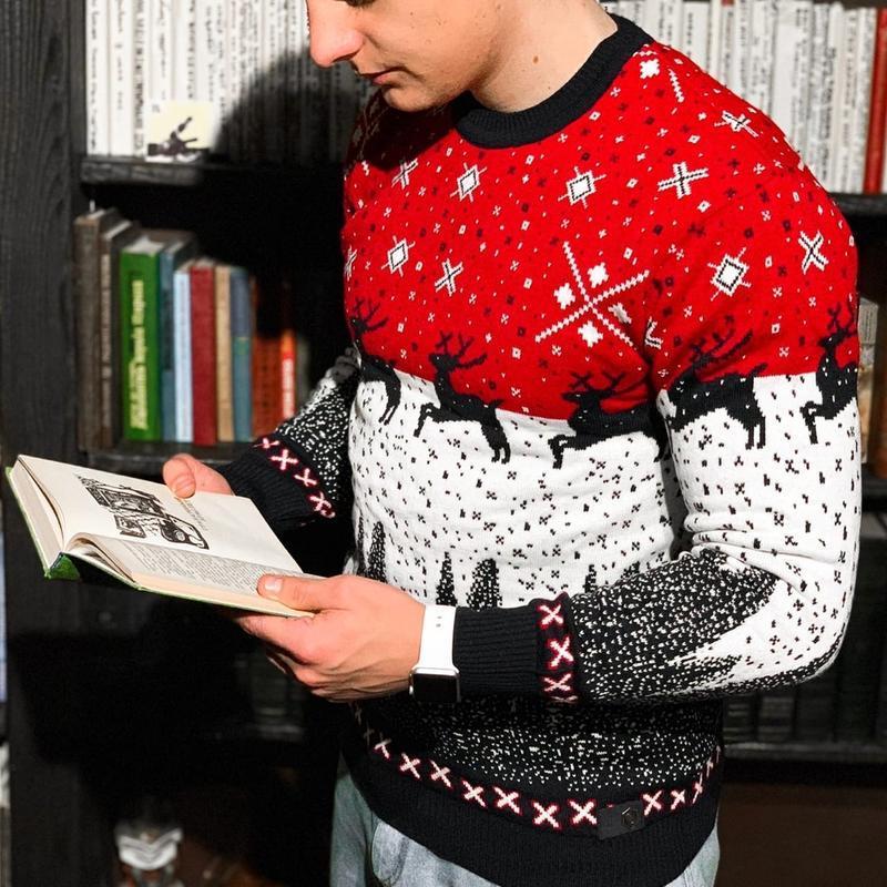 Теплый шерстяной мужской свитер с оленями в красном цвете /осе... - Фото 3
