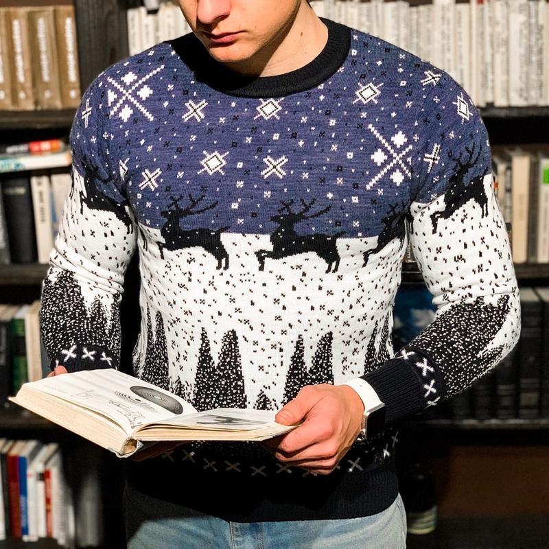 Мужской шерстяной свитер с оленями /осень/зима/весна😍