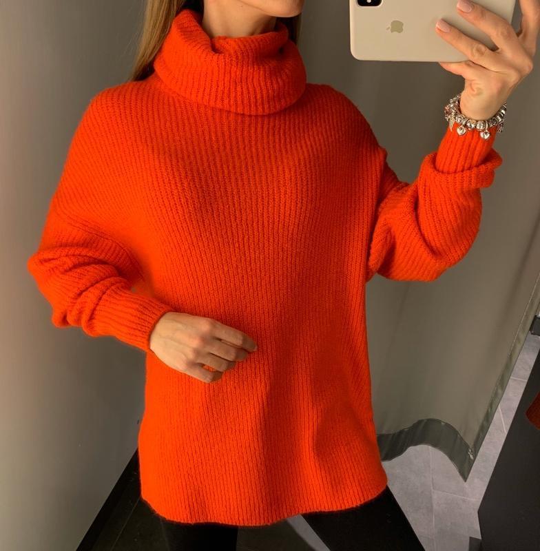 Тёплый свитер морковного цвета пуловер amisu есть размеры