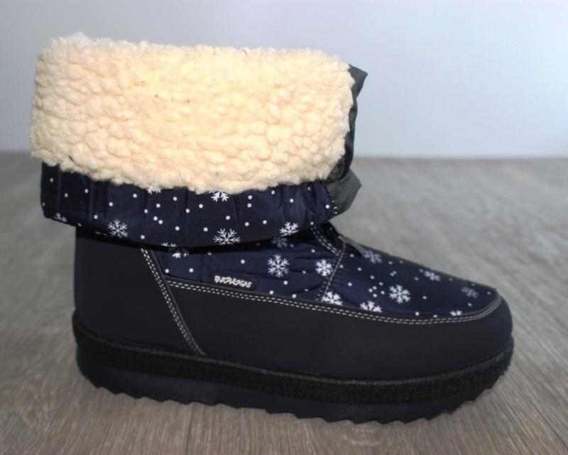 Женские зимние синие сапоги дутики с орнаментом со снежинками ... - Фото 2