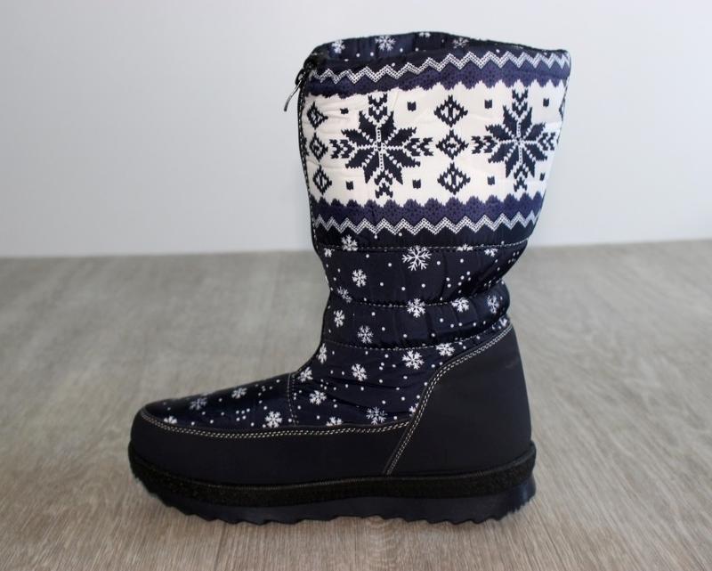 Женские зимние синие сапоги дутики с орнаментом со снежинками ... - Фото 3