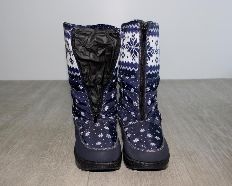 Женские зимние синие сапоги дутики с орнаментом со снежинками ... - Фото 4