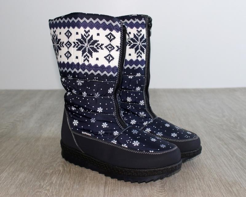 Женские зимние синие сапоги дутики с орнаментом со снежинками ... - Фото 5