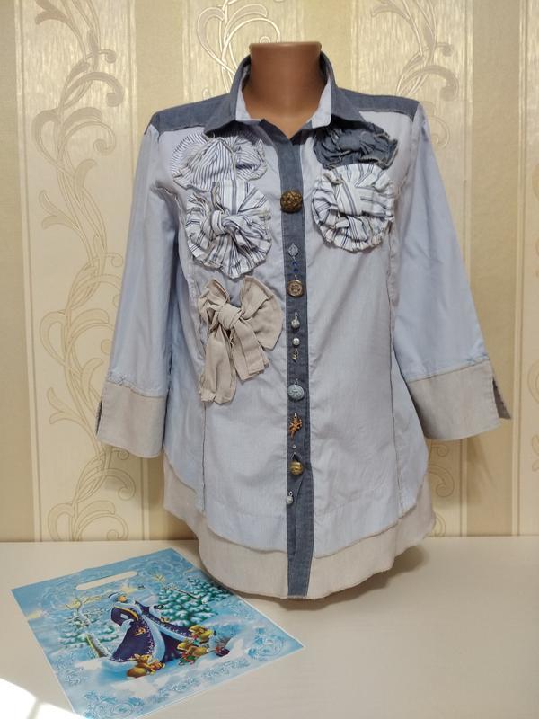Шикарная рубашка в мелкую полоску , бохо , италия.