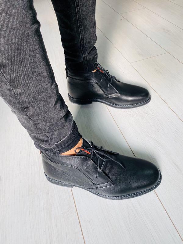 Lux обувь! кожаные красивые натуральные зимние мужские ботинки