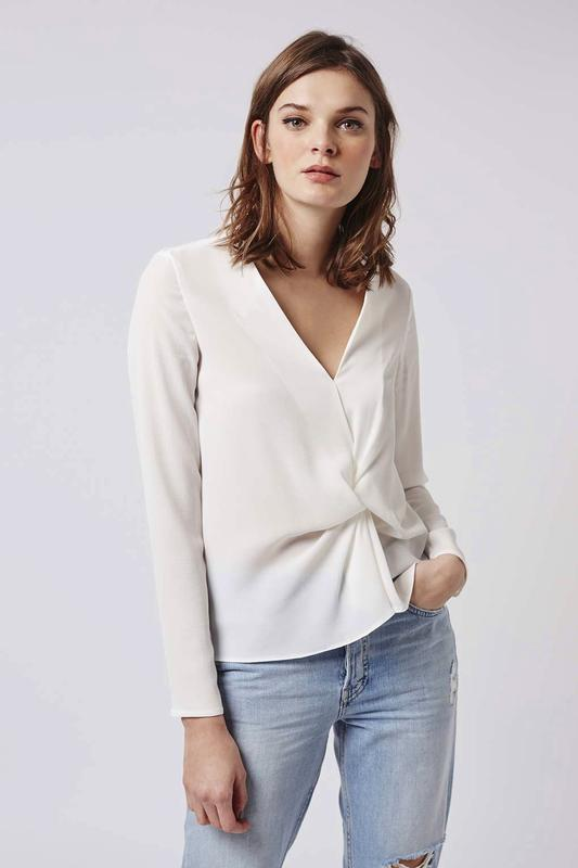 Topshop блуза с драпировкой спереди