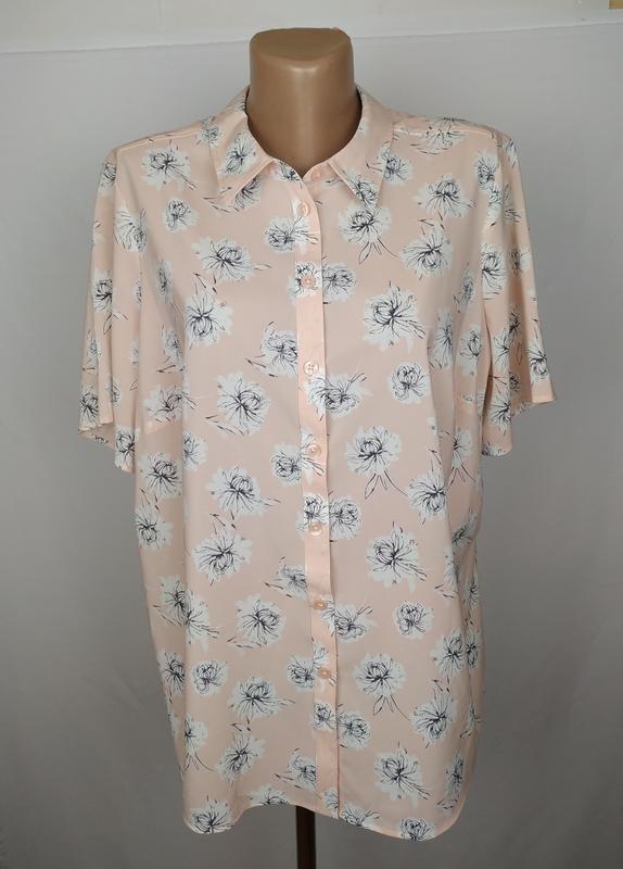 Блуза персиковая шикарная в принт большой размер marks&spencer...