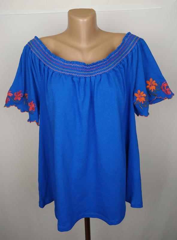 Блуза хлопковая стильная с вышивкой большой размер uk 20/48/3xl